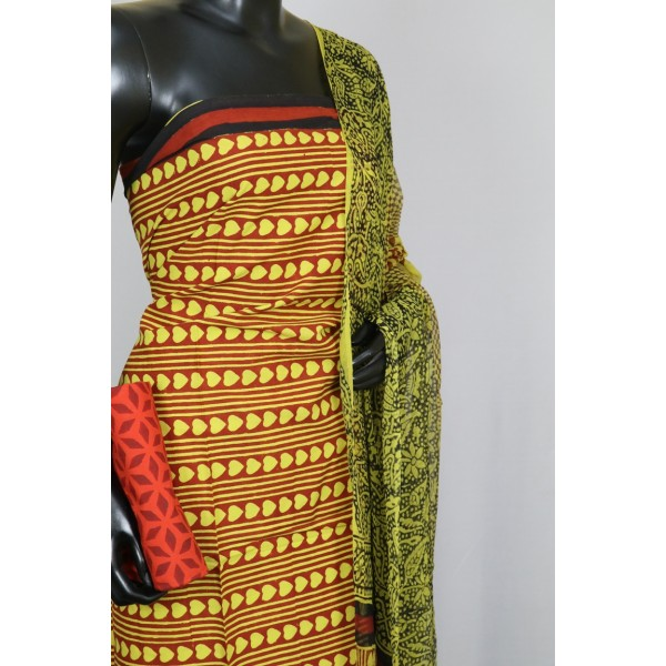 Cotton Unstitched Suit Material (Mustard Combo) BL KA014