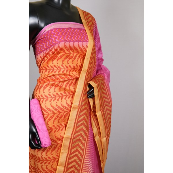 Maheswari Block Printed Salwar Suit (Orange)