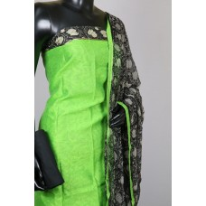 Chanderi Unstitched Suit Material (Green Combo) PN MSS001