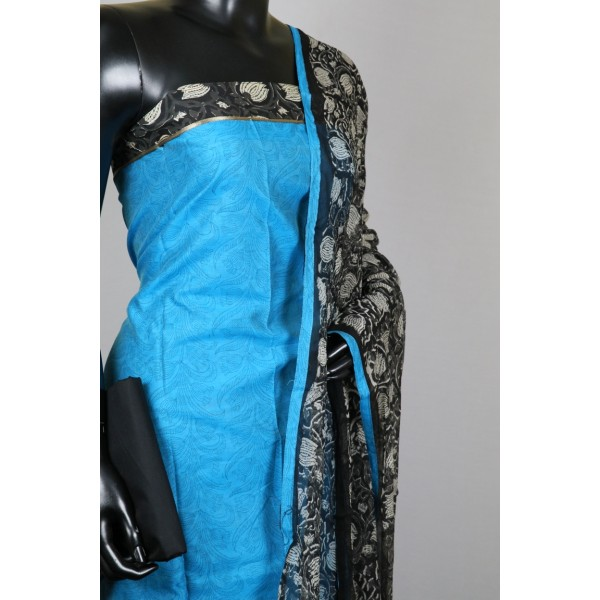 Chanderi Unstitched Suit Material (Blue Combo) PN MSS002