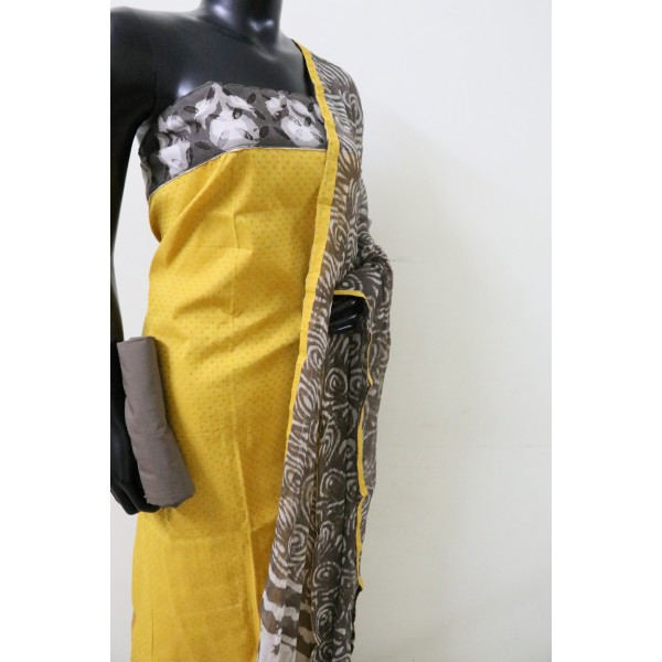 Cotton Unstitched Suit Material With Border Patch Work (Mustard Combo) PN MSS004