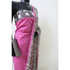 Cotton Unstitched Suit Material With Border Patch Work (Pink Combo) PN MSS005